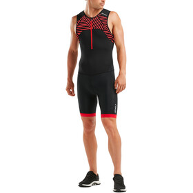 2XU Active Trisuit Men black/flame scarlet print